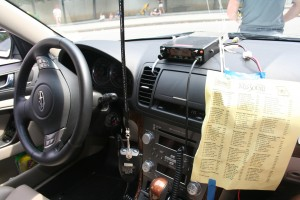 The team car outfitted with race radio